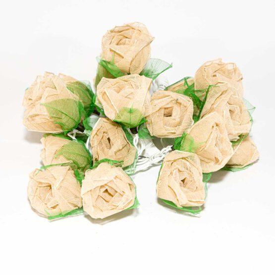 Feenlichter LED Lichterkette Rosen Groß 20L Creme