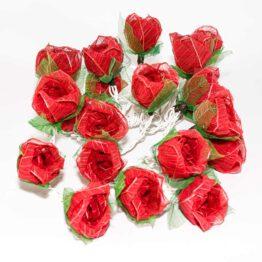 Feenlichter LED Lichterkette Rosen Groß 20L Rot