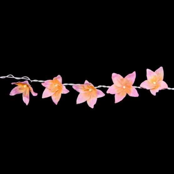 Feenlichter LED Lichterkette Lilien Rosa Detail