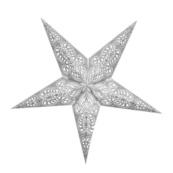 Sternenlicht Papierstern Ganesha Weiß Glitter 5 Zackig
