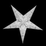 Sternenlicht Papierstern Ganesha Weiß Glitter 5 Zackig Nachts