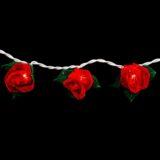 Feenlichter LED Lichterkette Minirosen Rot 20 Lichter Detail