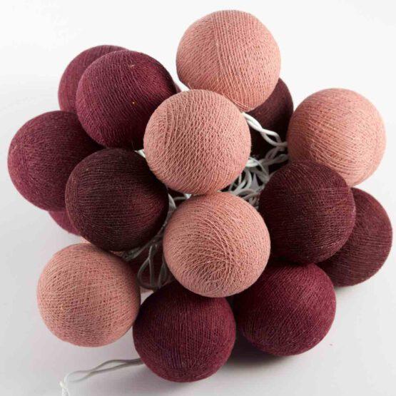 Baumwollball Feenlichter Lichterkette Bälle Burgundy