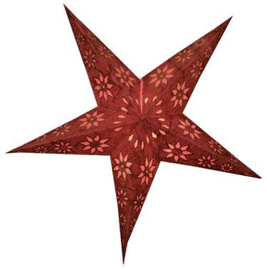 Sternenlicht Papierstern EdelRot Glitter 5 Zack