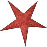 Sternenlicht Papierstern Layla Rot Glitter 5 Zack Standard
