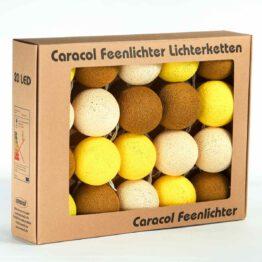 Feenlichter LED Lichterkette Cottonball Baumwollball Gold Verpackung 20L
