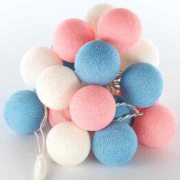 Baumwollball Feenlichter Lichterkette Bälle Baby Blue