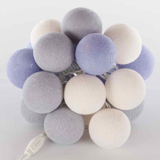 Cottonball LED Lichterkette Feenlichter Ice Lavender