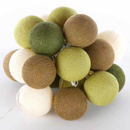 Baumwollball Feenlichter Lichterkette Bälle Olive