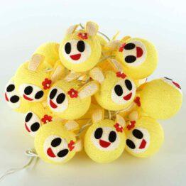 Baumwollball Feenlichter Lichterkette Bälle Osterhase Gelb
