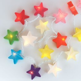 Feenlichter LED Lichterkette Sterne Rainbow beleuchtet