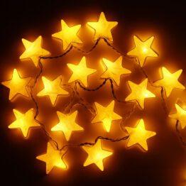Feenlichter LED Lichterkette Sterne Weiss beleuchtet