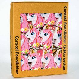 Feenlichter 20 LED Lichterkette Einhörner Flower Power Pink Verpackung