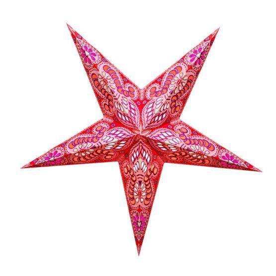 Sternenlicht Papierstern Ganesh Glitter Rosa 5 Zackig
