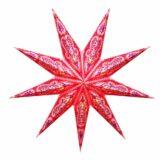 Sternenlicht Papierstern Ganesh Glitter Rosa 9 Zackig