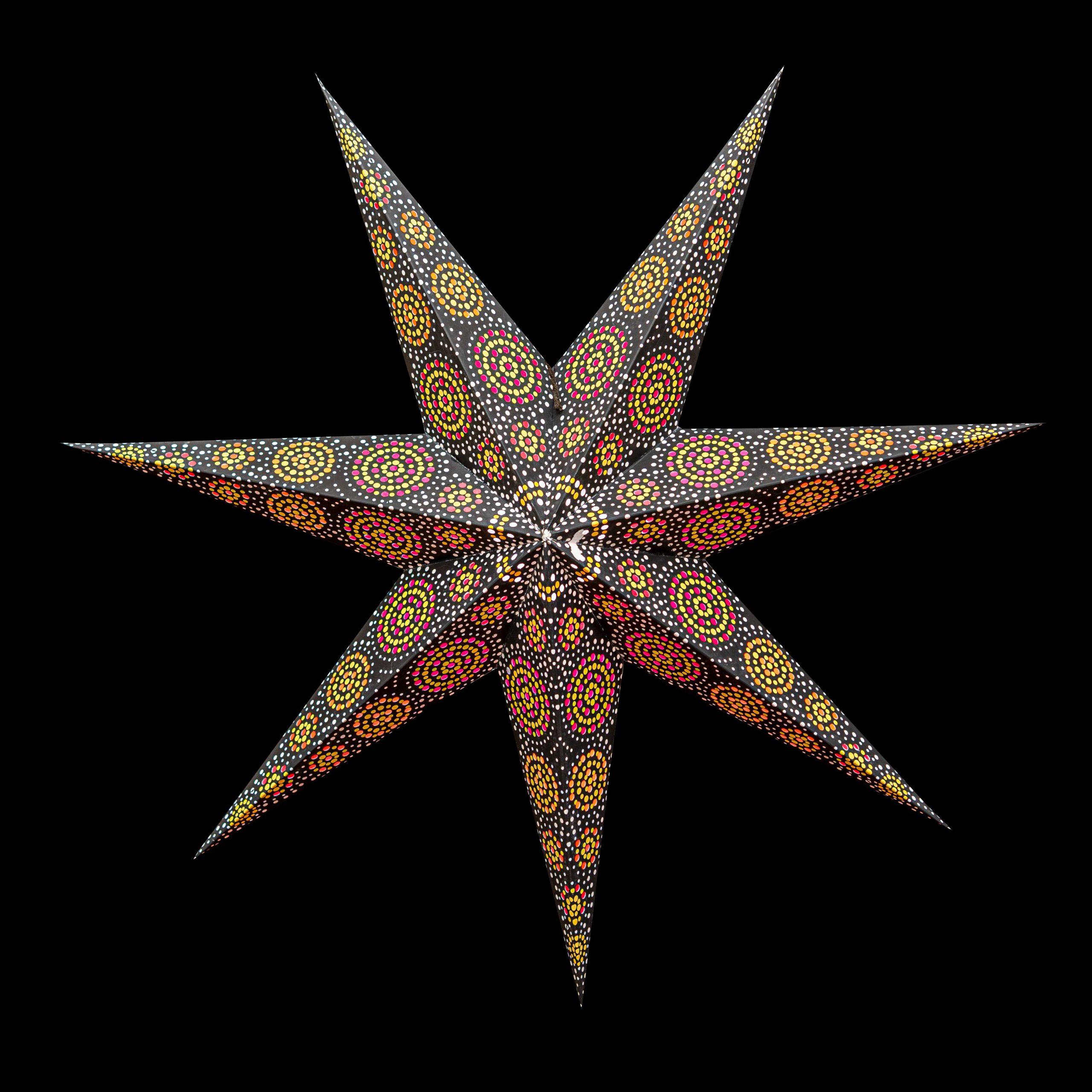 Sternenlicht Papierstern Sydney Schwarz 7 Zackig Nachts