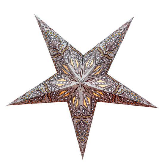 Sternenlicht Papierstern Ananda Silber 5 Zackig